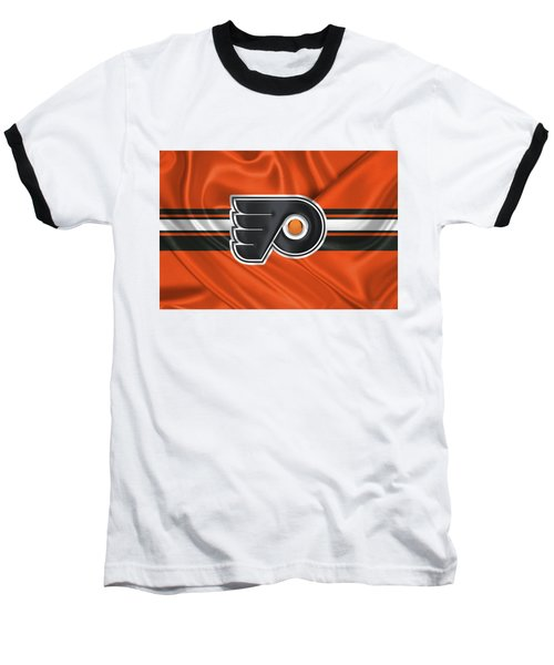 Philadelphia Flyers - 3 D Badge Over Silk Flag Baseball T-Shirt by Serge Averbukh