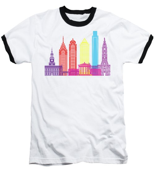 Philadelphia Skyline Pop Baseball T-Shirt by Pablo Romero