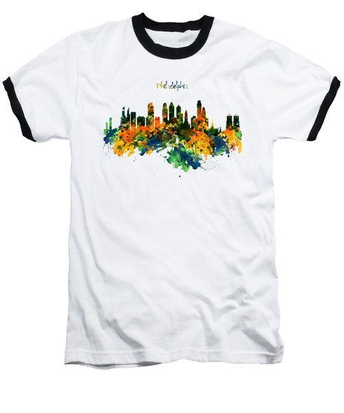 Philadelphia Watercolor Skyline Baseball T-Shirt by Marian Voicu