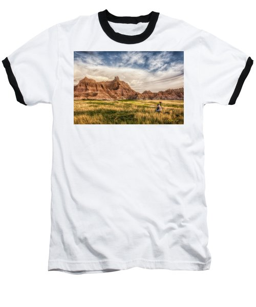 Photographer Waiting For The Badlands Light Baseball T-Shirt by Rikk Flohr