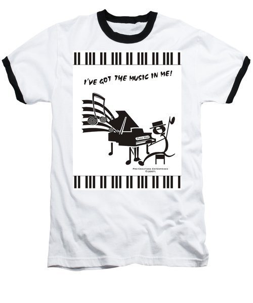 Piano Man Baseball T-Shirt by Maria Watt