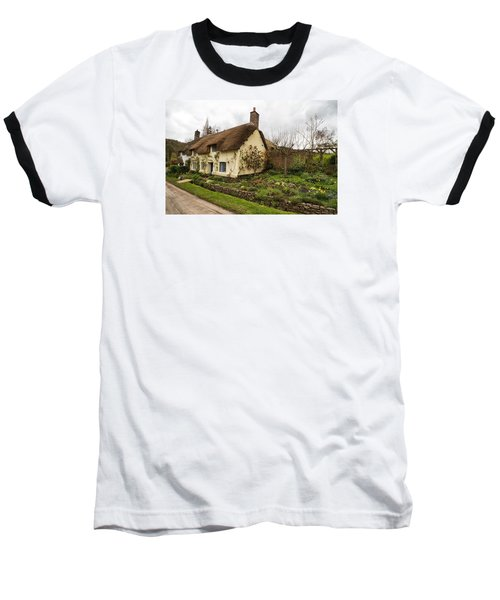 Picturesque Dunster Cottage Baseball T-Shirt by Shirley Mitchell