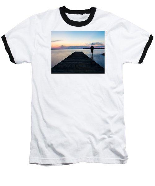 Pier At Sunset 16x20 Baseball T-Shirt