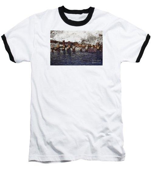 Pier Piles Baseball T-Shirt by David Blank