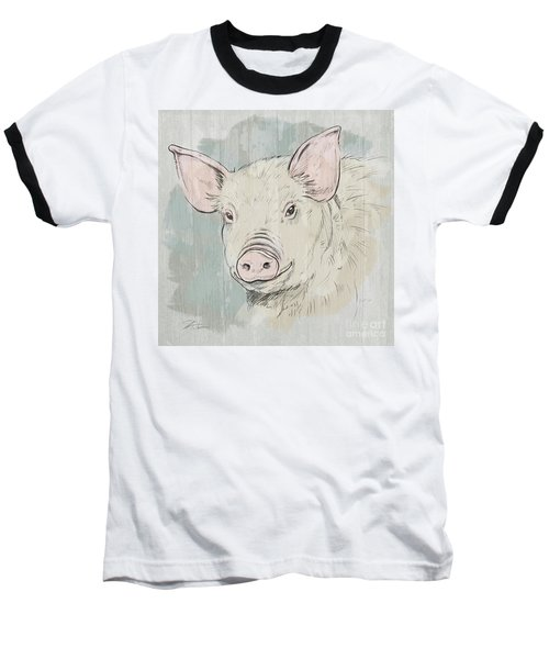 Pig Portrait-farm Animals Baseball T-Shirt