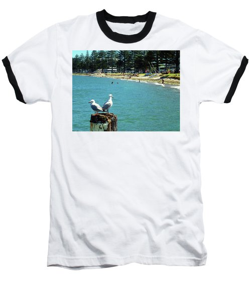Pilot Bay Beach 4 - Mount Maunganui Tauranga New Zealand Baseball T-Shirt by Selena Boron