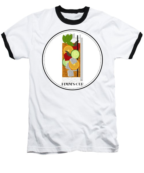 Pimm's Cup Cocktail In Art Deco  Baseball T-Shirt by Cecely Bloom