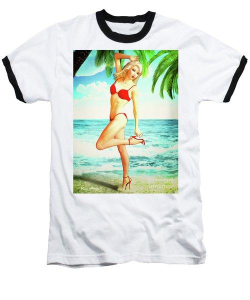 Pin-up Beach Blonde In Red Bikini Baseball T-Shirt