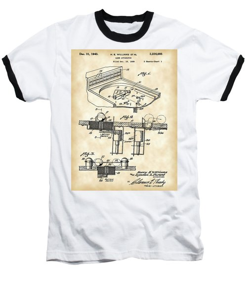 Pinball Machine Patent 1939 - Vintage Baseball T-Shirt by Stephen Younts