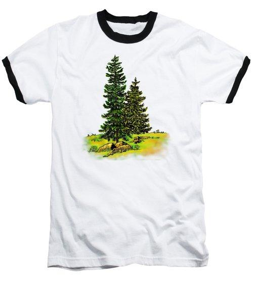 Pine Tree Nature Watercolor Ink Image 2b        Baseball T-Shirt