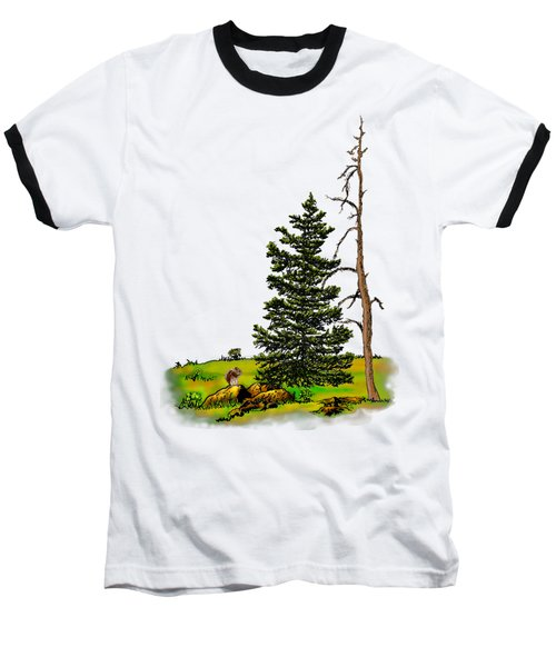Pine Tree Nature Watercolor Ink Image 3         Baseball T-Shirt