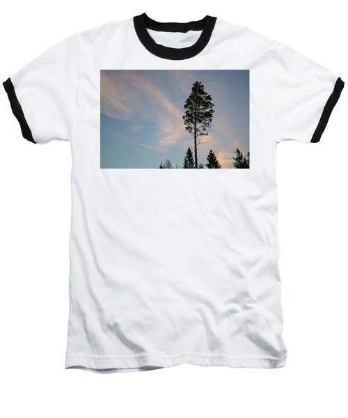 Pine Tree Silhouette Baseball T-Shirt