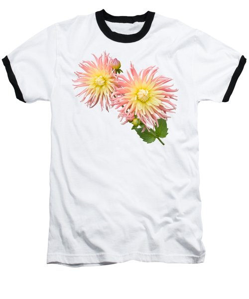 Pink And Cream Cactus Dahlia Baseball T-Shirt