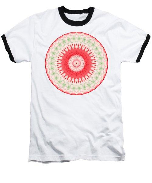 Pink And Green Mandala Fractal 001 Baseball T-Shirt