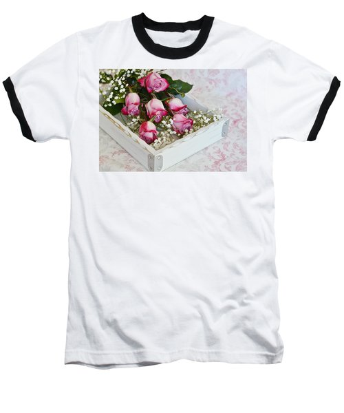 Pink And White Roses In White Box Baseball T-Shirt
