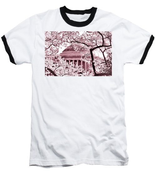 Pink Cherry Trees At The Jefferson Memorial Baseball T-Shirt