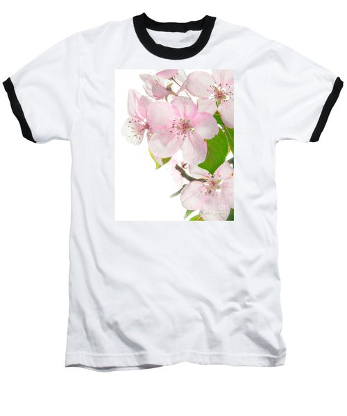 Pink Crabapple Blissoms Baseball T-Shirt by David Perry Lawrence