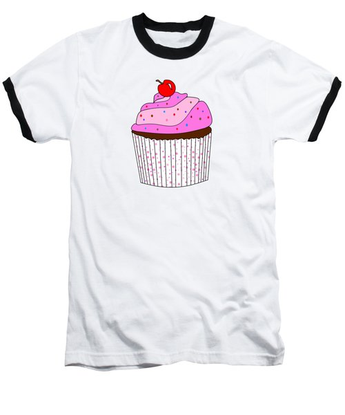 Pink Cupcake With Sprinkles - Food Illustration Baseball T-Shirt