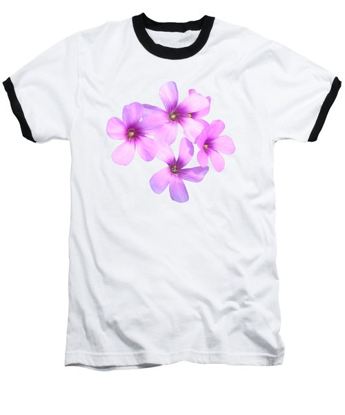 Pink Cutout Flowers Baseball T-Shirt