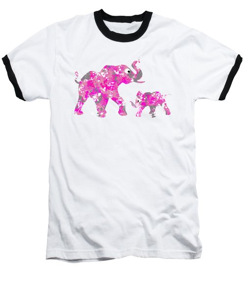 Pink Elephants Baseball T-Shirt
