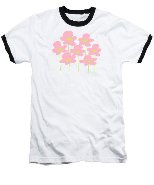 Pink Flowers #1 Baseball T-Shirt