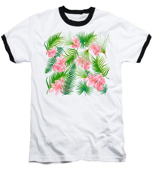 Pink Frangipani And Fern Leaves Baseball T-Shirt by Jan Matson