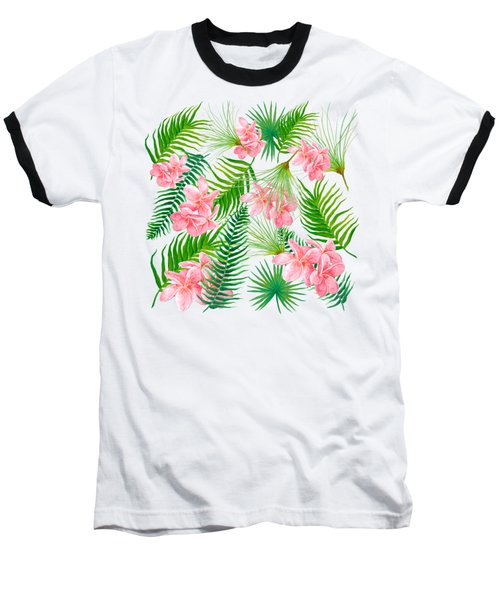 Pink Frangipani And Fern Leaves Baseball T-Shirt