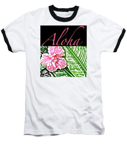 Pink Hibiscus Aloha Baseball T-Shirt