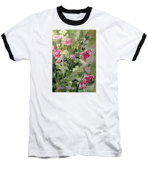 Pink Hollyhocks Baseball T-Shirt by Laurie Rohner