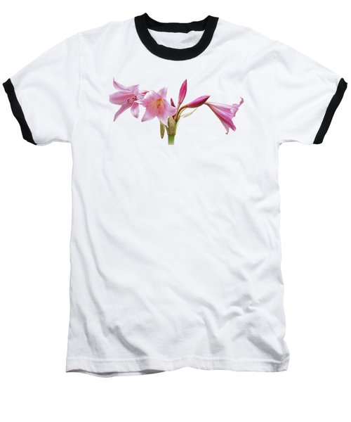 Pink Lilies On Black Baseball T-Shirt by Gill Billington