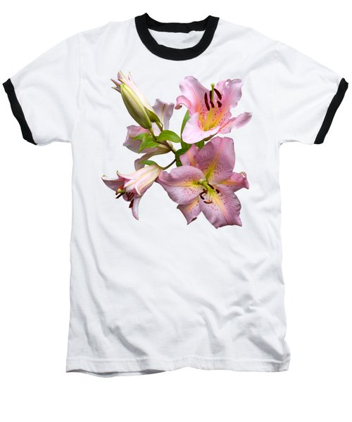 Pink Lilies On Cream Baseball T-Shirt
