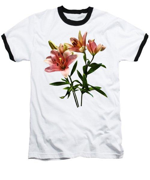 Pink Lily Trio Baseball T-Shirt by Susan Savad