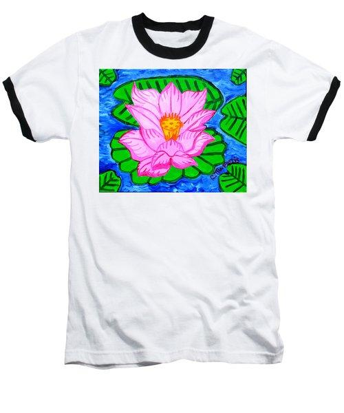 Pink Lotus Flower Baseball T-Shirt