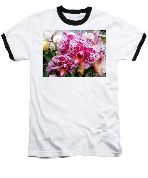 Pink Moth Orchids Baseball T-Shirt