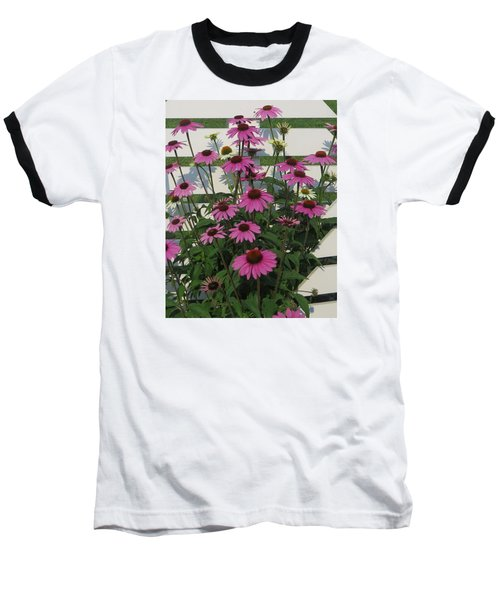 Baseball T-Shirt featuring the photograph Pink On The Fence by Jeanette Oberholtzer