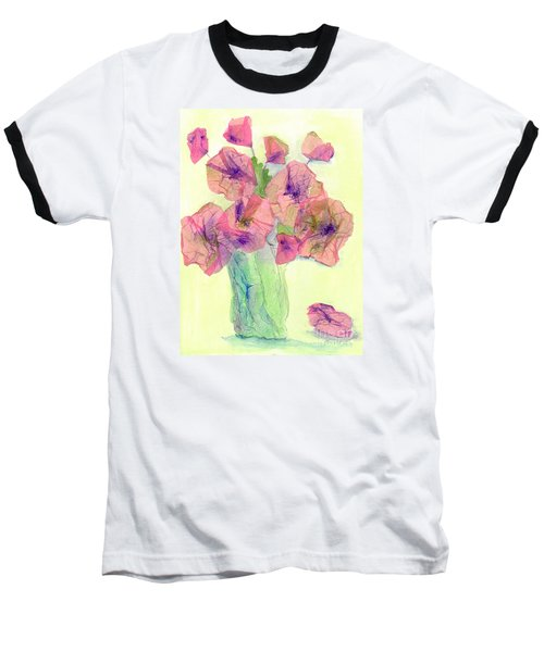 Pink Poppies Baseball T-Shirt by Veronica Rickard
