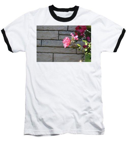 Pink Rose Against Grey Bricks Baseball T-Shirt by Michele Wilson