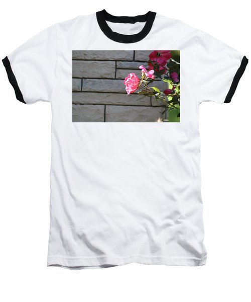 Pink Rose Against Grey Bricks Baseball T-Shirt