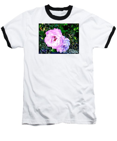 Baseball T-Shirt featuring the photograph Pink - White Roses  2 by Sadie Reneau