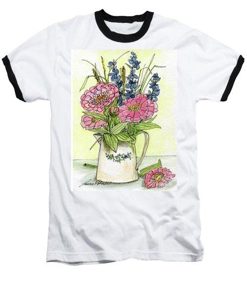 Pink Zinneas Baseball T-Shirt