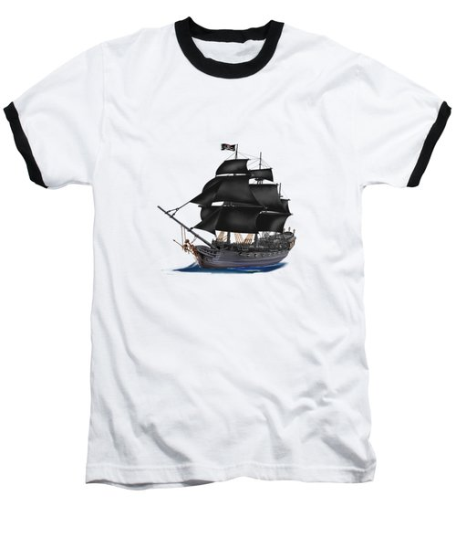 Pirate Ship At Sunset Baseball T-Shirt by Glenn Holbrook