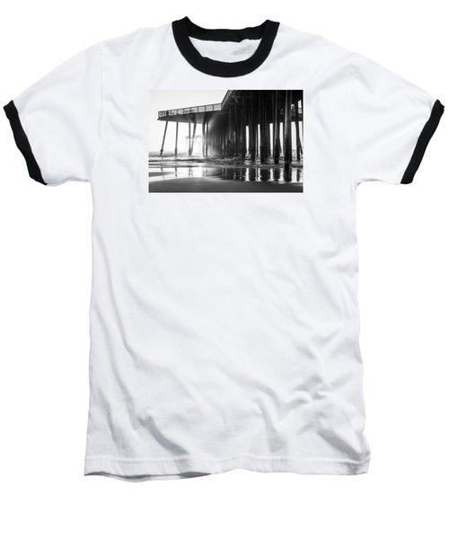 Pismo Pier Black And White Sunset Baseball T-Shirt