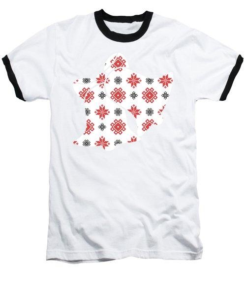 Pixel Christmas Pattern Baseball T-Shirt