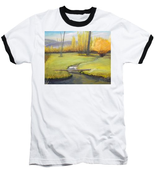 Baseball T-Shirt featuring the painting Placid Stream In Field by Sherril Porter