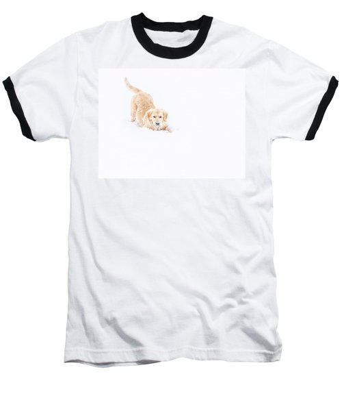 Playful Puppy In So Much Snow Baseball T-Shirt