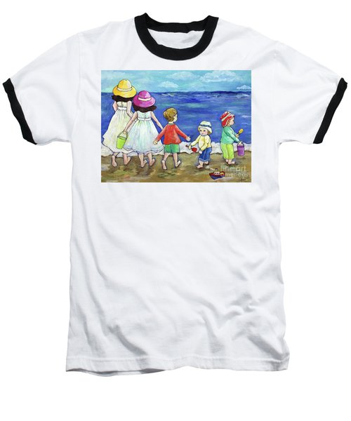Playing At The Seashore Baseball T-Shirt
