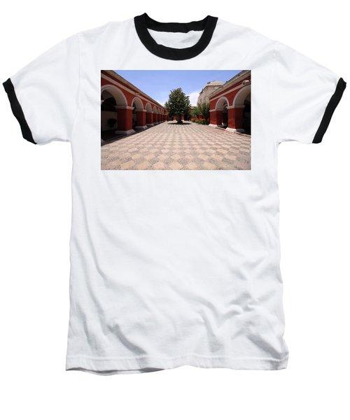 Plaza At Santa Catalina Monastery Baseball T-Shirt by Aidan Moran