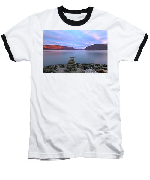 Plum  Point Rock Cairn At Sunset Baseball T-Shirt by Angelo Marcialis