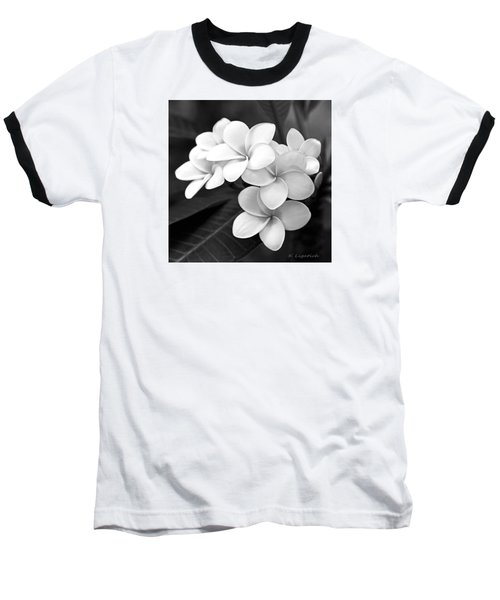 Plumeria - Black And White Baseball T-Shirt by Kerri Ligatich