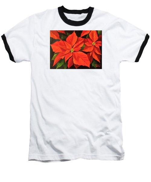 Poinsettia  Baseball T-Shirt by Katia Aho
